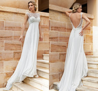 Empire Reference Images Bateau 2014 Sheer Demetrios Empire Wedding Dresses Lace Chiffon Backless A line Simple Beach Bridal Party Gowns Pregnant Plus size Free Shipping