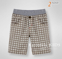 Wholesale FASHION BOY AMD GIRLS SHORTS thin RED BROWN PLAID pants health Cotton and linen fabrics high quality clothing FOR KIDS for3 years