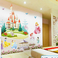 Wholesale Retail Huge Princess Castle Removable D DIY PVC Cartoon Wall Sticker Art Wall Decal Home Decor