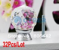 Cheap 32Pcs Lot 30mm Glass Crystal Round Cabinet Knob Drawer Pull Handle Kitchen Door Wardrobe Hardware TK0736