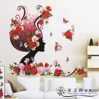 Wholesale Sexy Rose Flowers Fairy D Wall Sticker Decorative Livingroom TV Sofa Removable PVC Wall Sticker