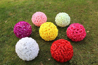 Wholesale 13 cm cm cm cm cm Artifical Silk Rose Flowers Balls Kissing Ball Flower Simulation For Home Party Store Wedding Bows