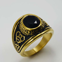 Band Rings Gothic punk style Men's Wholesale China Jewelry custom Military Rings vintage unique gold black stone rings for men