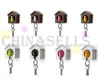 Wholesale multifunction whistle sparrow bird keychain bird house holder key hook key ring couple lover key chain