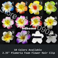 Wholesale quot Hawaiian Plumeria Frangipani Foam Flowers Hair Clips