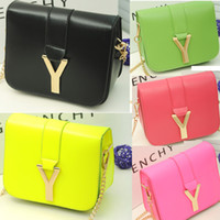 Wholesale 2014 Fashion European Celeb Style Women Ladies Faux Leather PU Leather Small Handbags Metal Chain Strap Colors