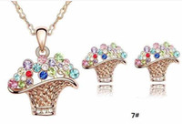 Wholesale 8 colors available Austrian crystal earrings necklace shaped baskets A necklace a pair of earrings jewelry three sets JEWELRY SETS z001