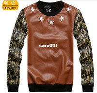 Cotton Cardigan Hoodies,Sweatshirts New winter camouflage clothing pentagram skateboard PU leather sleeve crew neck pullover hoodie