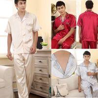 Regular Men Robe Casual Mens Faux Silk Sleepwear Boys Cool Tops Shirts Trousers Pants Pajama Sets JX0258 Free&Drop shipping