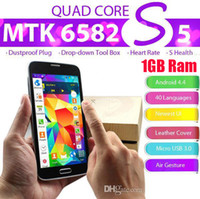 WCDMA Thai Android New 2014 Perfect 1:1 S5 i9600 SM-G900 MTK6582 Quad Core phone 5.1 Inch Android 4.4 Kitkat 2GB RAM 16GB Rom Rear Camera 13.0MP 1920x1080 px