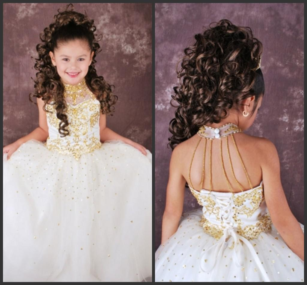 2015 Applique White Flower Girl Dresses High Neck Sleeveless Backless Gold Se
