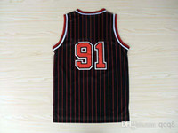 Wholesale Top Quality Men s Basketball Jerseys Dennis Rodman Black Red Stripe Embroidery Logo Mix Order