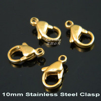 Wholesale 10mm K Gold Plated L Stainless Steel Lobster Clasp amp Hooks DIY Chain Necklace Clasp Fashion Jewelry Findings amp Components