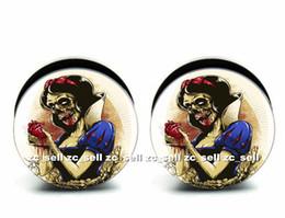 Wholesale 60pcs body piercing jewelry Snow White logo plug black acrylic screw fit ear plug gauges flesh tunnel size 6mm-25mm ASP0225