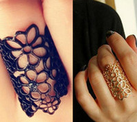 Wholesale Women Fashion Hollow Alloy Finger Rings Flower Opening Wide Cuff Style Ring Punk Black Gold