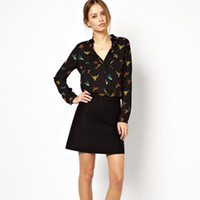 Women Cotton 945 Vintage Ladies Bird Printing Chiffon Full Sleeve Pocket Shirt Trendy Tops Free&Drop shipping