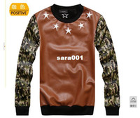 Cotton Cardigan Hoodies,Sweatshirts 2014free shipping 2014 winter new skateboard hee Happy PU camouflage sleeve crew neck pullover men sweatshirt