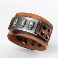 Wholesale Mens Rock Metal Skull Studded Wide Bracelets Vintage Leather Bracelet Wristband Cuff WB006