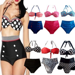 Wholesale 2014 RETRO Pinup Rockabilly Vintage High Waist Bikinis Set Swimsuit Swimwear Bathing Suit Beachwear styles Large Size
