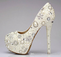 Women Pumps Spring and Fall Wholesale - Sweet Pearl Crystal Beaded Round Toe lady's formal shoes Women's High Heels Beaded Bridal Evening Prom Party Wedding Dress Bride