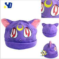 Wholesale Sailor Moon purple Cat Luna Plush Hat Costumes Cosplay cap