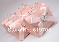 Favor Boxes Pink Paper FREE SHIPPING 100pcs lot Beige Pink Elegant candy Bag with Crystal Favors box Wedding favor Party candy box Anniversary gifts
