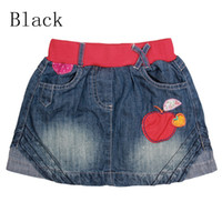 Wholesale Summer girl tutu skirt Nova new design apple applique denim skirts baby cute jean skirts kids clothes M4778