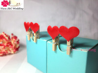 Wholesale mm Mini Wooden Photo Clip Hearts DIY Party Decoration Clips Fabric Red Heart Clip Notes Folder JCO H09