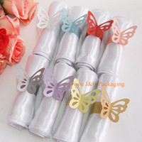 Wholesale of Metallic Butterfly Paper Napkin Ring Wrap Weddings Party Home Decoration Table Decoration JCO