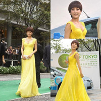 Reference Images Sweetheart Chiffon Free Shipping Elegant Cap Sleeve Yellow Evening Dresses vestidos de chiffon Long Lace Prom Party Gowns 2014 New Fashion