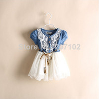 100% cotton denim jeans - New Girl Clothing Summer Denim Dress for Girls Brand Kids Girl Jeans Tutu Dress Cute Beautiful Top Quality Children Dresses