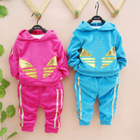 Wholesale 2014 new baby boy girls brand sport track suit clothing sets child long sleeve hoody pants for spring autumn sport sets suits
