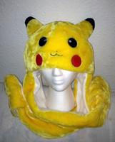 Wholesale Cartoon Animal Hat Fluffy Plush Hood Hoodie Hat Pikachu Cap IN Function