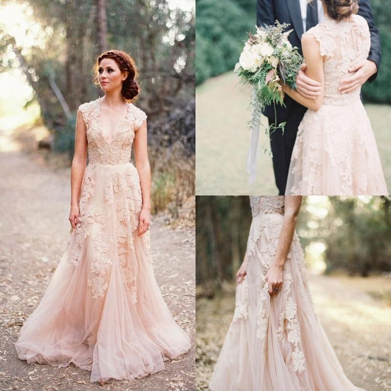 Blush Wedding Dress 1402 : Discount real sample wedding dresses sheer v neck lace applique blush