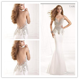 Wholesale New Arrival Sexy Sheer Tarik Ediz Mermaid Evening Dress Pageant Dresses Backless Beaded See Through Satin Formal Dress Gowns Prom Dress