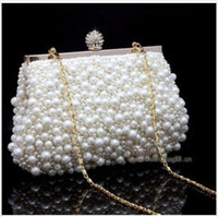 Wholesale Hot style Women Pearl Handbag Hand beaded Bridal Diamond Clasp Clutch Purse Top Quality Chain Evening ShoulderHigh qualitynew