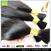 Wholesale Hair Bulks Brazilian Remy Human Hair Unprocessed Virgin Human Hair g piece Natural Color Silky Straight Human Hair Extensions