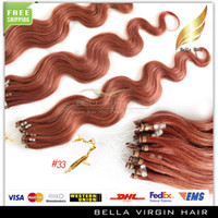 Wholesale New Fashionable Brazilian Virgin Human Hair Micro Ring Loop Hair Extensions quot Body Wave Wavy g strand g set Color Stock Available