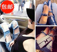 Jeans Women Classic Straight Brand New Europe and Americas super brand exaggerated large hole beggar torn sexy naked flesh jeans