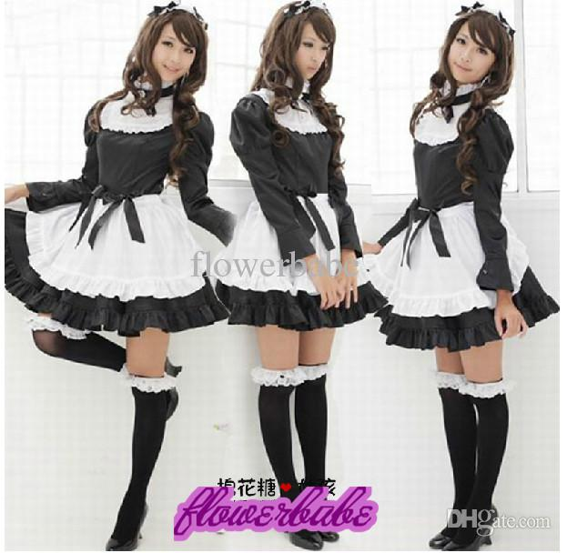 Black and white Japanese Anime Cosplay Winter Long Cute maid outfit Princess dress Lolita maid dress