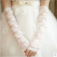 Bridal Gloves Above Elbow Length Fingerless Wedding dress accessories bridal wedding yarn yarn lace gloves breathable lace gloves long section of Changsha