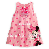 TuTu Summer A-Line 2013 Summer Dress Kids Girl's Cartoon Minnie Mouse One Piece Sleeveless Polka Dot Dress Cute Pink Dress with Bows Free Shipping
