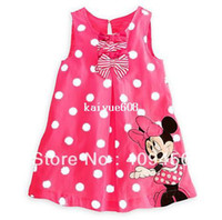 TuTu Summer A-Line 2013 Summer Dress Kids Girl's Cartoon Minnie Mouse One Piece Polka Dot Vest Dress Cute Summer Children's Clothing Free Shipping