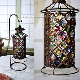 Wholesale Color beads shed candlestick zakka storm lantern european style Nepal wedding items home decoration gift candle