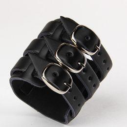 Rock Wide Genuine Leather Bracelet Malti Layer Buckle Fashion Charm Bracelets Jewelry Wristband Cuff Gifts WB010