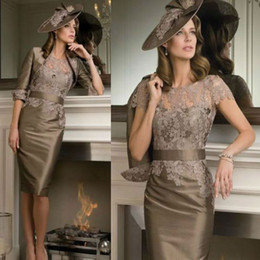 Wholesale Real Image Lace Mother Of The Bride Dresses With Jackets Sheath Crew Half Sleeve Knee Length Taffeta