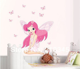 [Saturday Mall ]-new pink angel girl room home decor sticker flower fairy and butterfly decals wall stickers for kids rooms 5080