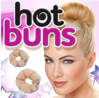 Wholesale 1405z Hot Buns Magic sponge Hair Accessories Twist Curler Tool with retail box pack pc small pc large TV