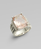 Wholesale R221 x12mm Morganite Wheaton Ring sterling silver ring silver ring Gemstone jewellery ring