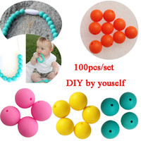 Wholesale 100pcs set silicone teething necklace beads DIY Jewelry for baby Mommy Clasps rope hook